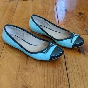 7.5 Tiffany Blue Quilted Jack Roger Flats navy cap
